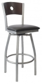 Silver  Swivel Bar Stool with a Wood Back - Circle