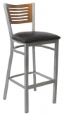 Silver Metal Bar Stool with 5 Slats in Back
