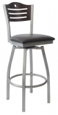 Silver Swivel Bar Stool with a Wood Back - Circle & 3 Slats