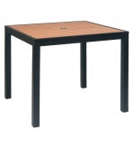 Black Aluminum Patio Table with Natural Plastic Teak Slats