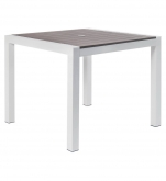 White Aluminum Restaurant Patio Table with Grey Plastic Teak Top