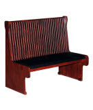 Wood Bench with Padded Seat & Beadboard Back