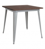 Industrial Silver Restaurant Table with Walnut Wood Top