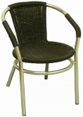 Aluminum Patio Arm Chair with Black Faux Rattan