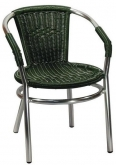 Aluminum Patio Arm Chair with Green Faux Rattan