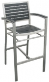 Aluminum Patio Arm Bar Stool with Black Plastic Teak