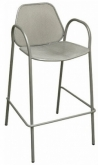Mila Metal Patio Bar Stool With Arms