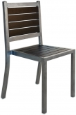 Plastic-Teak and Metal Patio Chair