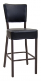 Brown Metal Bar Stool With Vinyl Padded Back and Seat