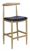 Wood Grain Metal Bar Stool in Natural Finish with Black Vinyl Seat