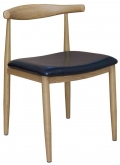 Wood Grain Metal Chair in Natural Finish with Black Vinyl Seat