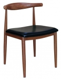 Wood Grain Metal Chair in Walnut Finish with Black Vinyl Seat
