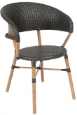 Curved Back Aluminum Patio Chair with Faux Wicker