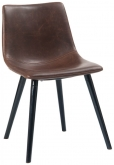 Vintage Style Metal Chair with Brown Padded Seat and Back