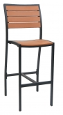 Black Aluminum Plastic Teak Patio Bar Stool