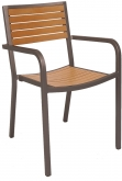 Aluminum Rust Colored Patio Arm Chair with Plastic Teak