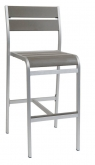 White Aluminum Restaurant Patio Bar Stool with Grey Plastic Teak