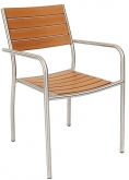 Stainless Steel Patio Arm Chair with Plastic Teak Seat and Back