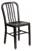 Patio Metal Chair in Distressed Black Finish