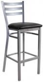 Light Silver Metal Ladder Back Bar Stool with 3 Slats