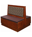 Wood Booth With Plain Back Platform Seat - Double