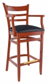 Premium US Made Ladder Back Bar Stool With Arms