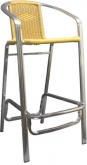 Double Tube Aluminum and Rattan Bar Stool