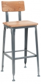 Dark Grey Metal Bar Stool with Natural Finish Wood