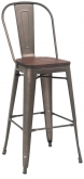 Dark Grey Bistro Style Metal Bar Stool with Walnut Finish Wood