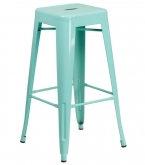 Backless Light Blue Bistro Metal Bar Stool