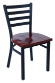 Black Finish and Dark Mahogany Solid Wood Seat