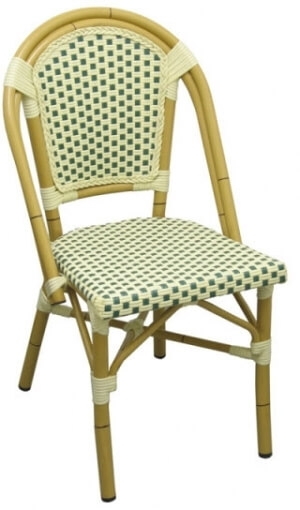 Aluminum Bamboo Patio Chair With Green White Rattan