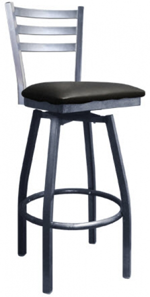 metal swivel bar stools Light Silver Metal Ladder Back Swivel Bar Stool with 3 Slats metal swivel bar stools