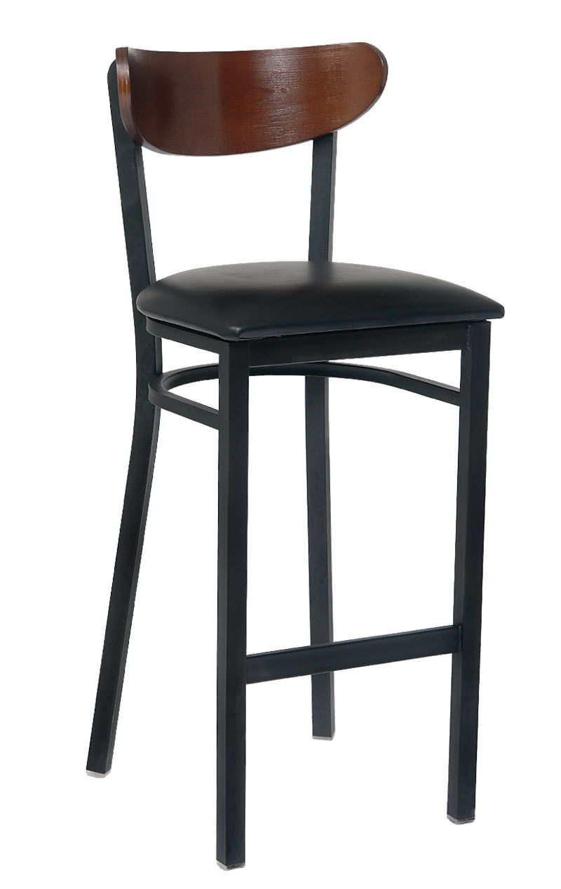 Modern Curved Back Metal Bar Stool With Veneer Seat