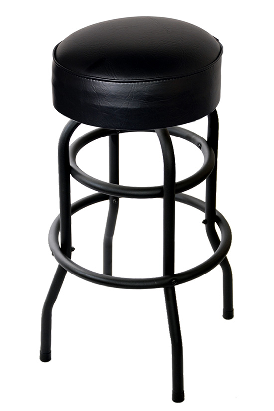 Swivel Bar Stool With A Black Double Ring Frame