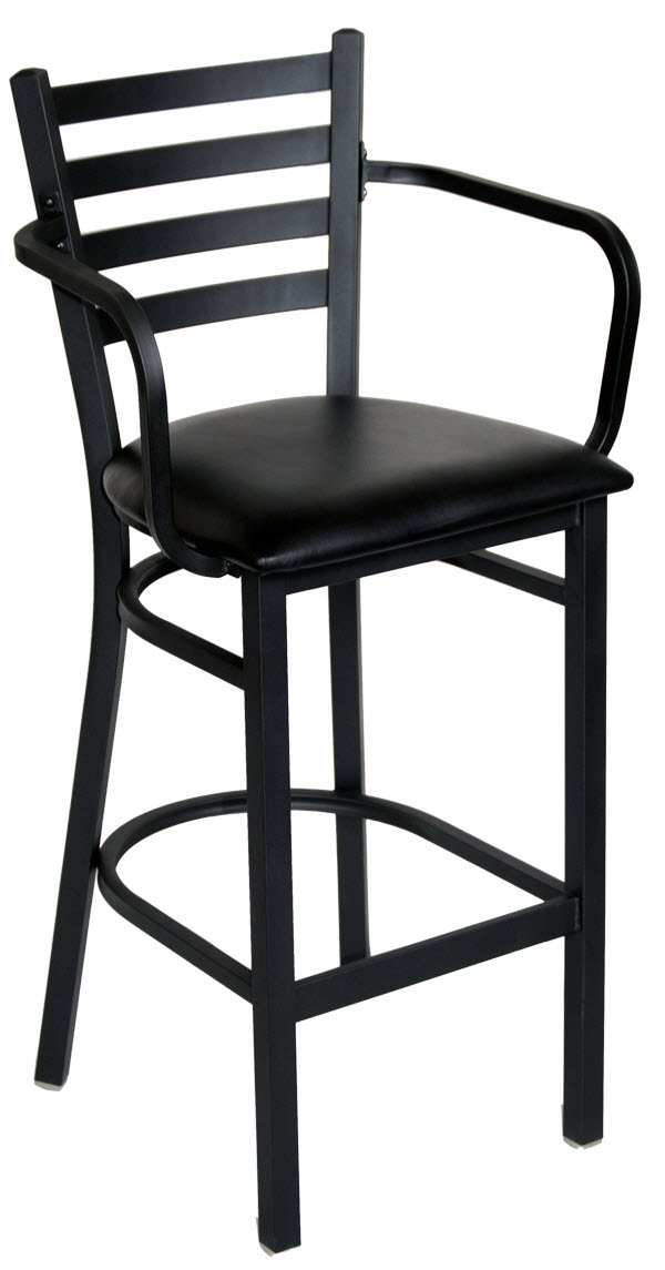 Ladder Back Metal Barstool With Arms