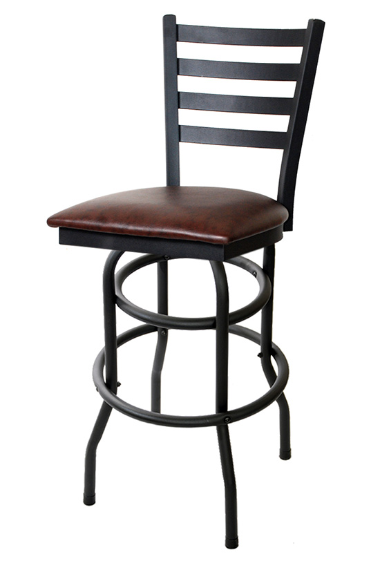 Swivel Ladder Back Metal Bar Stool With Double Ring