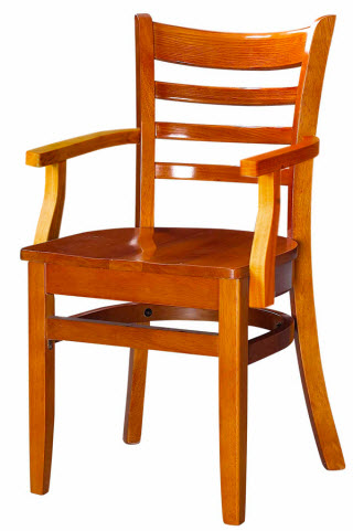 Premium Wood Restaurant Chair Ladder Back With Arms