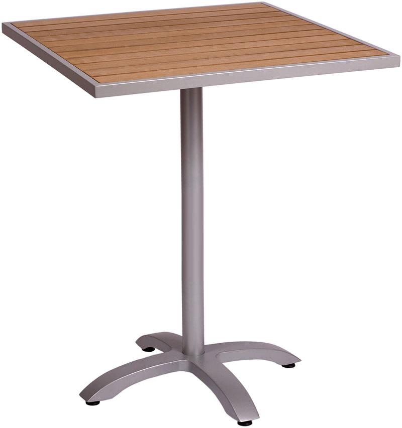 Aluminum Patio Tables With Plastic Teak, Aluminum Patio Bar Set