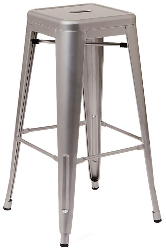 Pleasant Bistro Style Metal Backless Bar Stool In Light Grey Finish Creativecarmelina Interior Chair Design Creativecarmelinacom