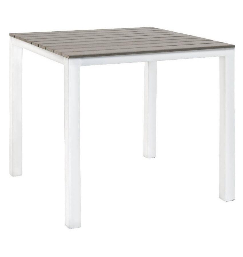 Brilliant White Patio Table With Grey Plastic Teak Top Dailytribune Chair Design For Home Dailytribuneorg