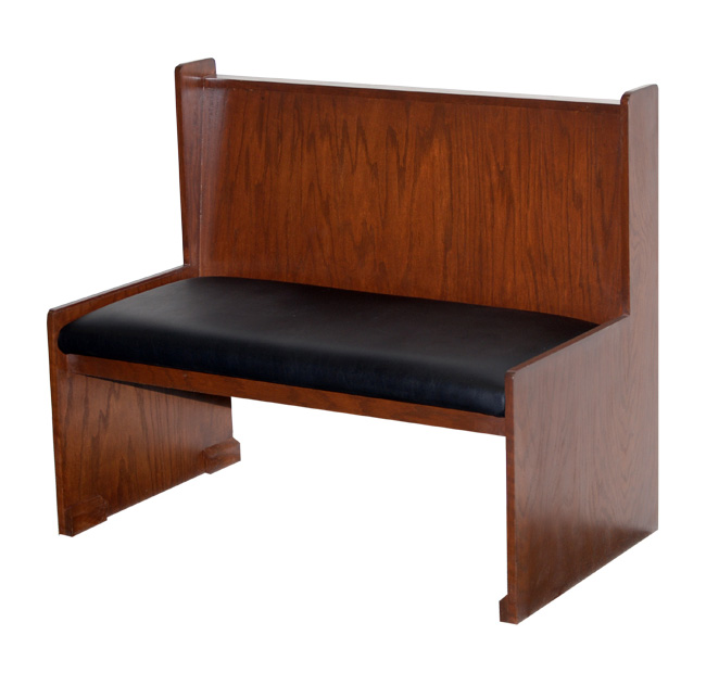 Wood Bench With Padded Seat Back