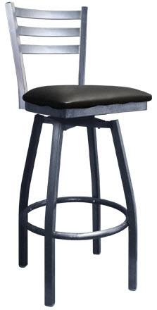 Light Silver Metal Ladder Back Swivel Bar Stool With 3 Slats