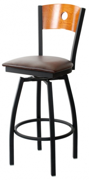 Swivel Bar Stool With Circle In Back