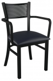 Metal Checker Back Chair With Arms