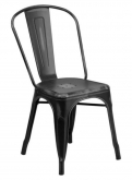 Distressed Black Bistro Style Metal Chair