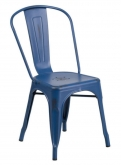 Distressed Dark Blue Bistro Style Metal Chair