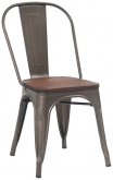 Bistro Style Metal Chair in Dark Grey Finish with Walnut Wood Seat