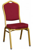 Premium Metal Stack Chair - Sun Gold Frame with Red Fabric
