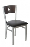 Silver Metal Chair with a Circled Back
